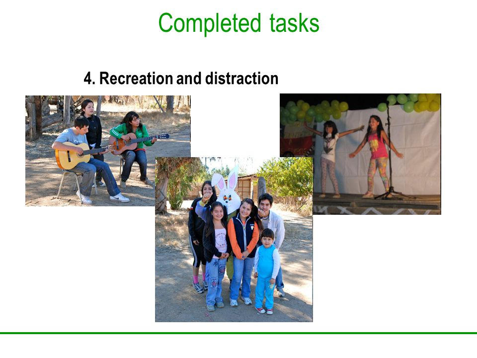 Completed tasks 4. Recreation and distraction