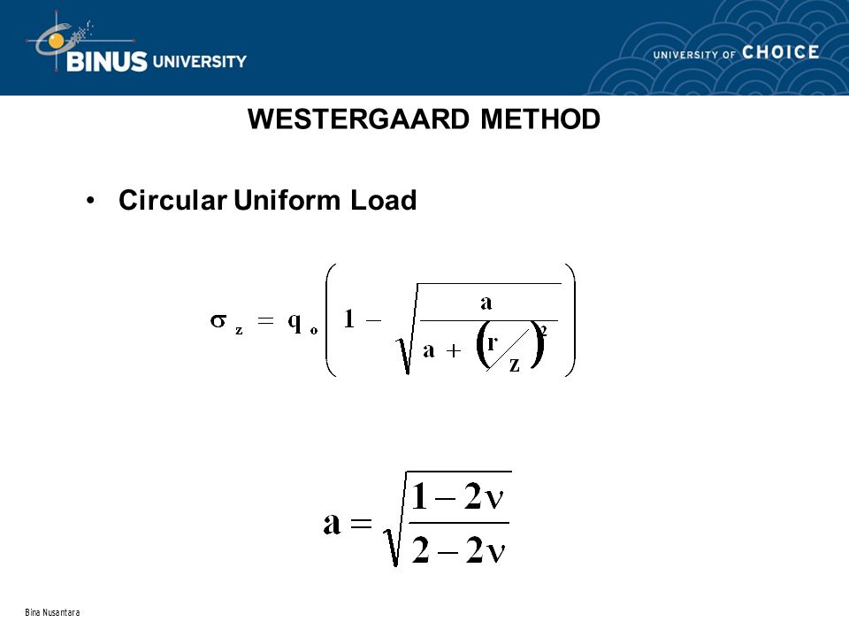 Bina Nusantara WESTERGAARD METHOD Circular Uniform Load