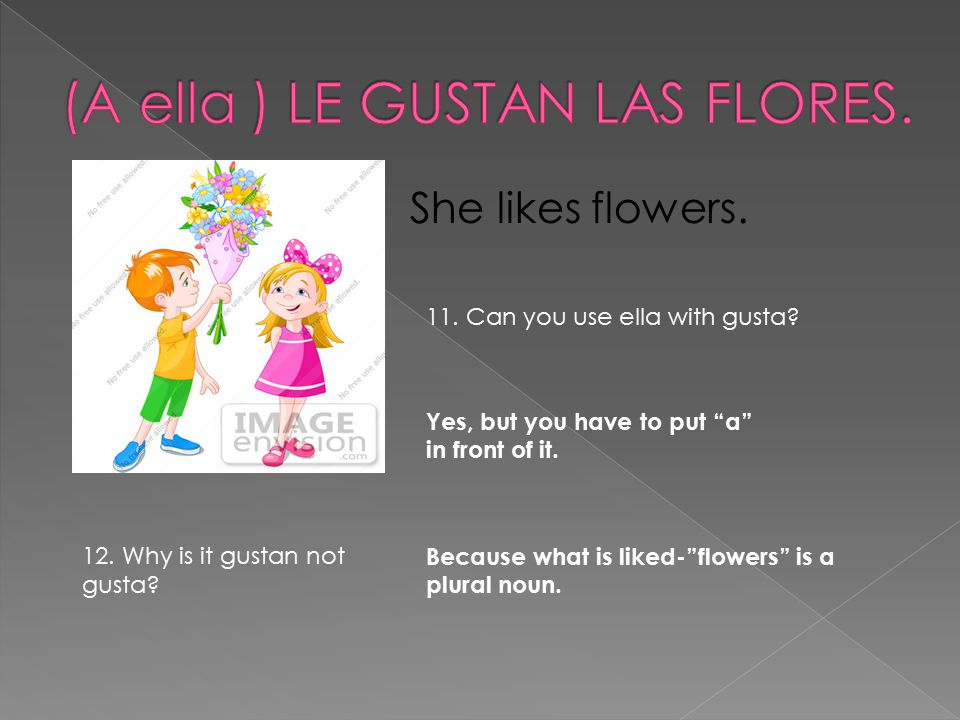"She likes flowers. Yes, but you have to put ""a"" in front of it. 11. Can you use ella with gusta? 12. Why is it gustan not gusta? Because what is liked"
