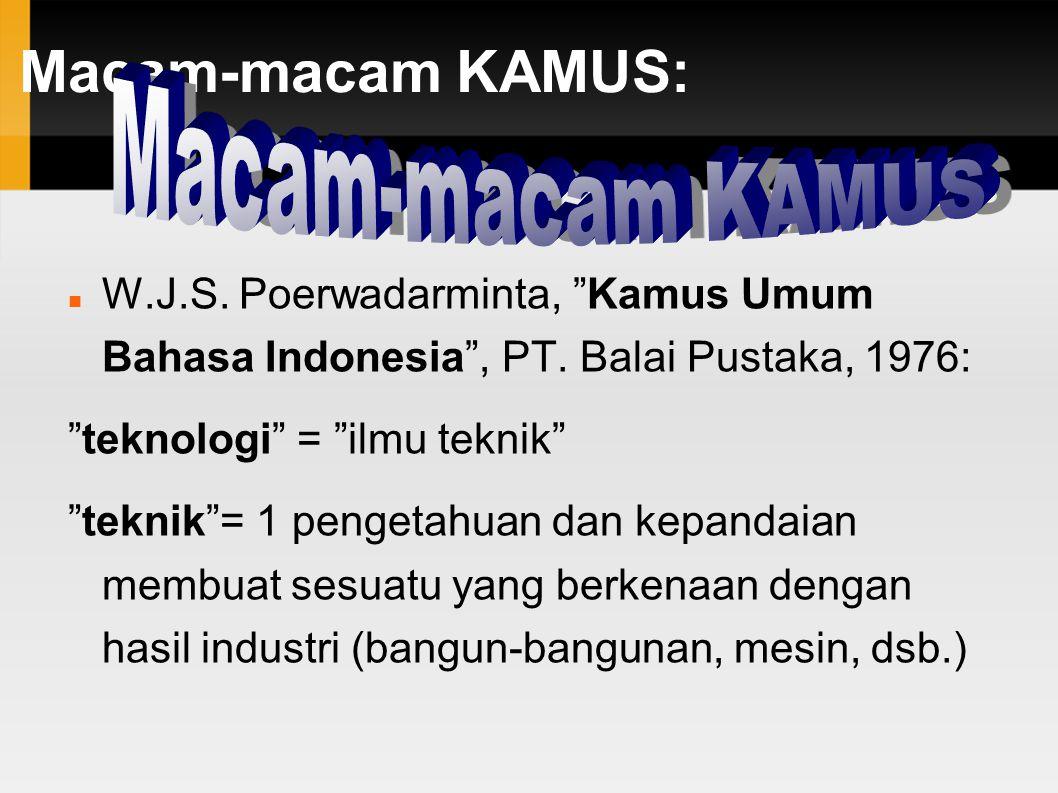 Macam-macam KAMUS: W.J.S. Poerwadarminta, Kamus Umum Bahasa Indonesia , PT.