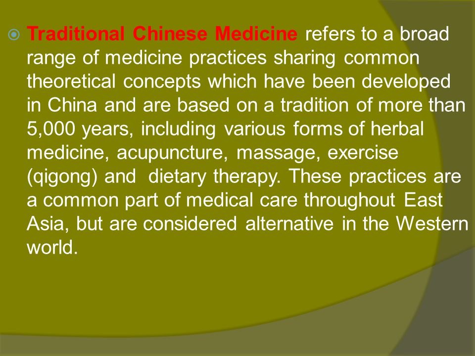 contents The History of Traditional Chinese Medicine The origin Historical figures and their works The theory of TCM Diagnostic Methods Therapies of TCM Western and Traditional Chinese Medicine compared The current situation of TCM Protect our Traditional medicine culture 2