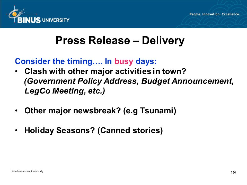 Press Release – Delivery Consider the timing….
