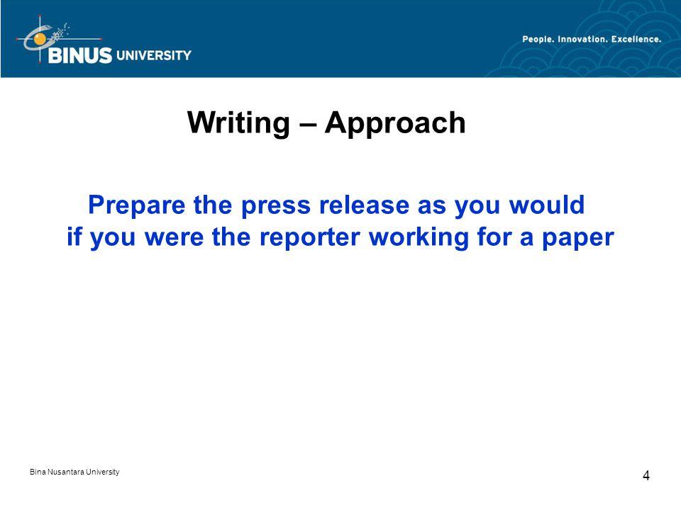 Writing – Format Letterhead (with company logo) Press release Heading Sub-heading Date & Place Text pagination Bina Nusantara University 15