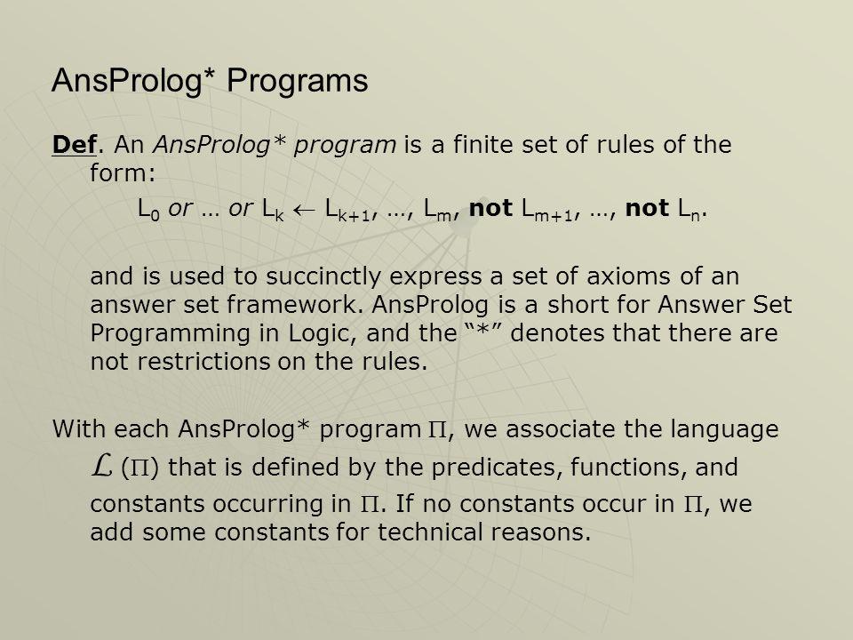 AnsProlog* Programs Def.