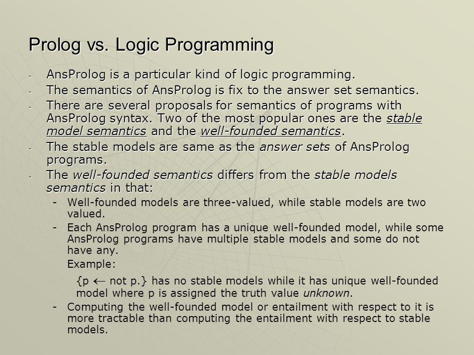 Prolog vs. Logic Programming - AnsProlog is a particular kind of logic programming.