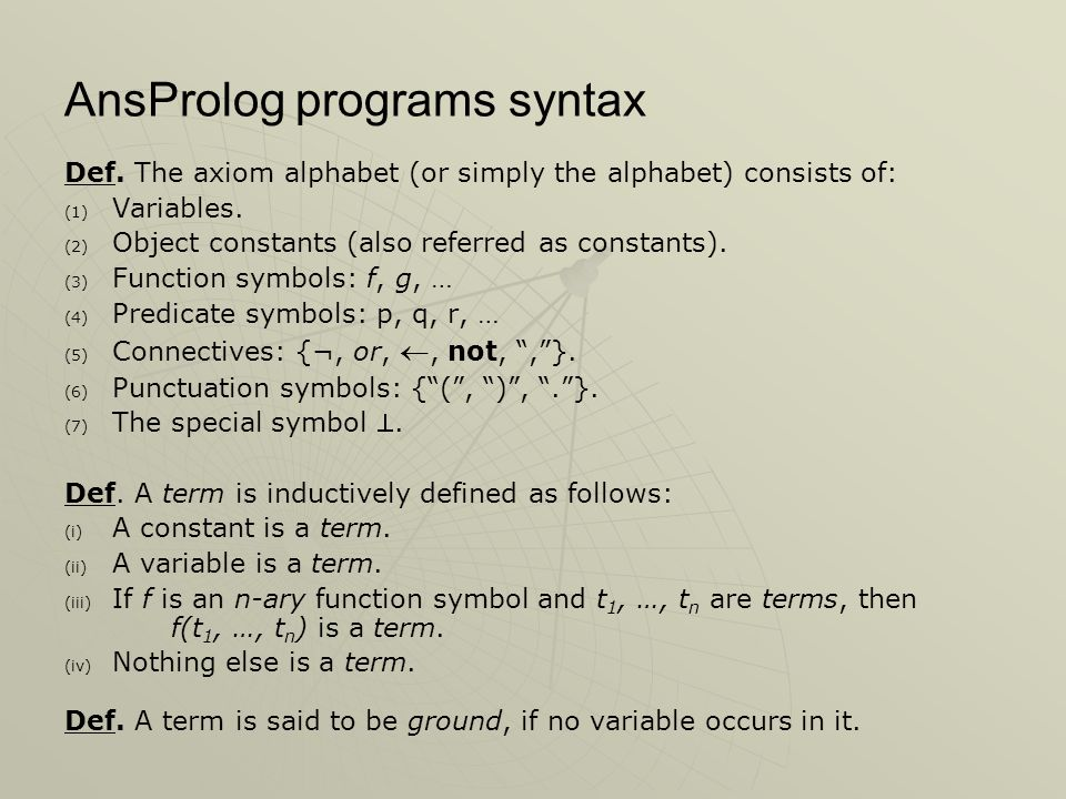 AnsProlog programs syntax Def.