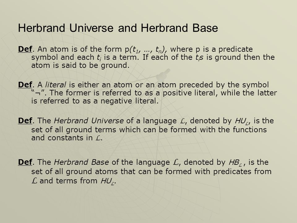 Herbrand Universe and Herbrand Base Def.