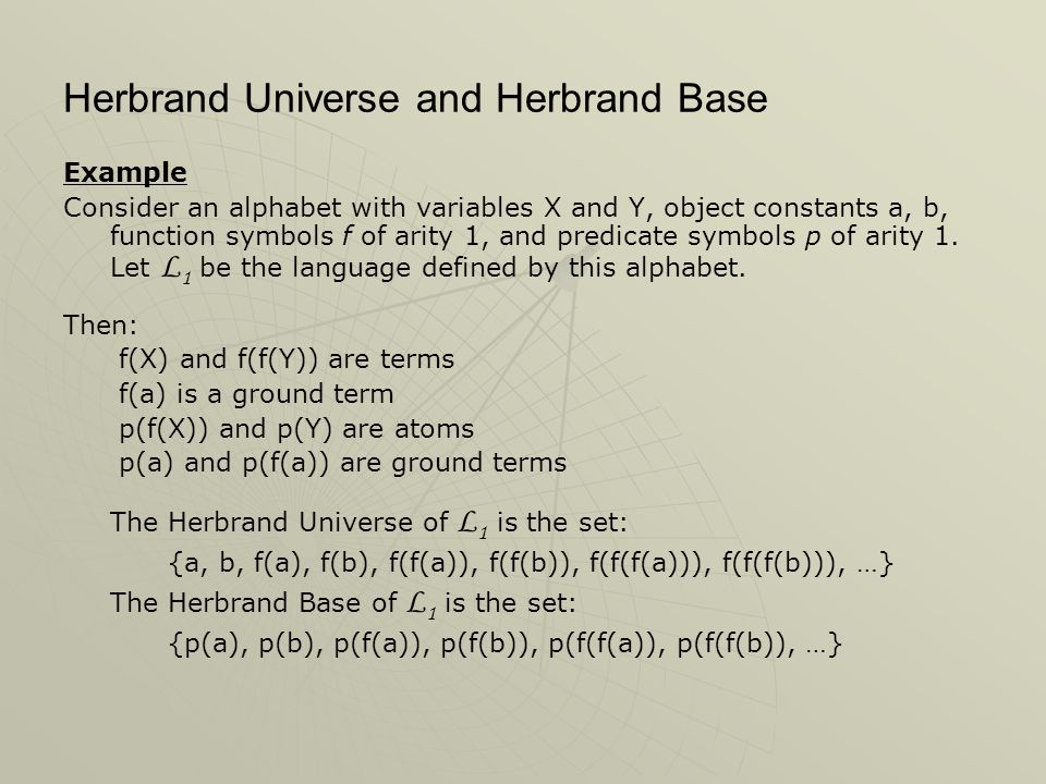 Herbrand Universe and Herbrand Base Example Consider an alphabet with variables X and Y, object constants a, b, function symbols f of arity 1, and pre