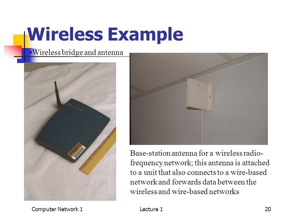 Computer Network 1Lecture 120 Wireless Example Wireless bridge and antenna Base-station antenna for a wireless radio- frequency network; this antenna