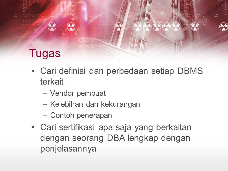 Tugas Cari definisi dan perbedaan setiap DBMS terkait –Vendor pembuat –Kelebihan dan kekurangan –Contoh penerapan Cari sertifikasi apa saja yang berkaitan dengan seorang DBA lengkap dengan penjelasannya