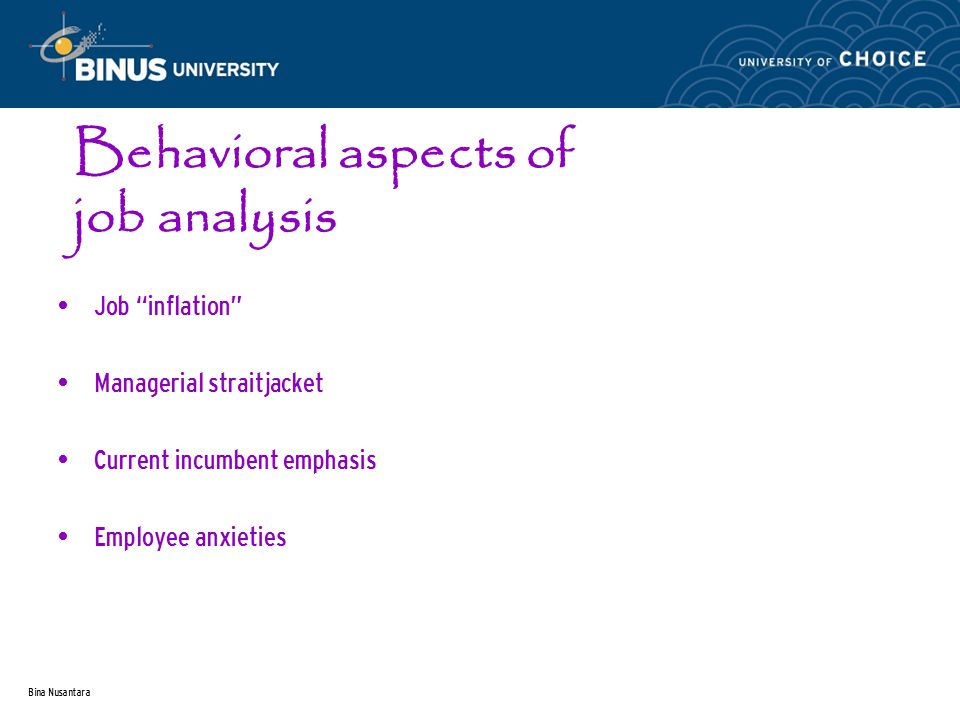 "Bina Nusantara Behavioral aspects of job analysis Job ""inflation"" Managerial straitjacket Current incumbent emphasis Employee anxieties"