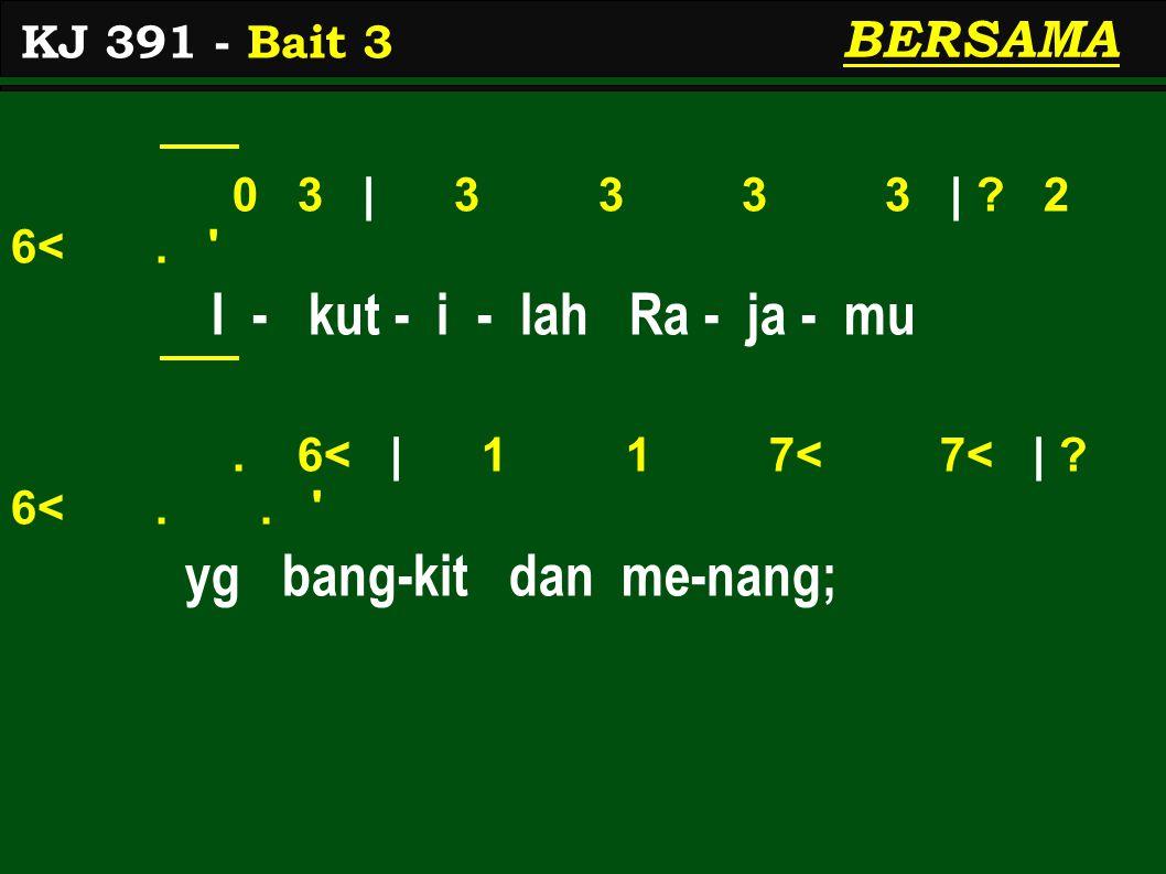 0 3 | 3 3 3 3 | . 2 6<. I - kut - i - lah Ra - ja - mu.