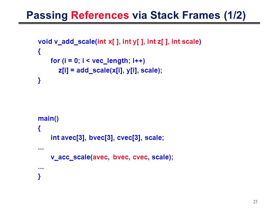 25 Passing References via Stack Frames (1/2) void v_add_scale(int x[ ], int y[ ], int z[ ], int scale) { for (i = 0; i < vec_length; i++) z[i] = add_scale(x[i], y[i], scale); } main() { int avec[3], bvec[3], cvec[3], scale;...