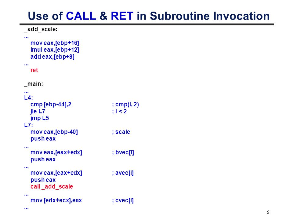 6 Use of CALL & RET in Subroutine Invocation _add_scale:...