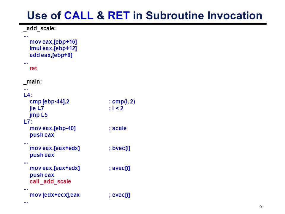 7 Parameter Passing between Calling- & Callee-subroutines