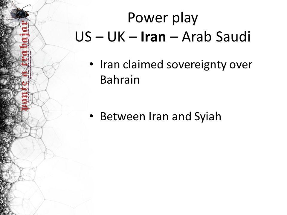 Power play US – UK – Iran – Arab Saudi Iran claimed sovereignty over Bahrain Between Iran and Syiah