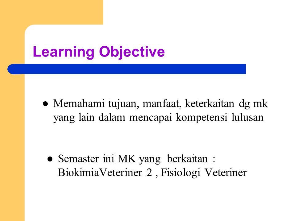 Learning Objective Memahami tujuan, manfaat, keterkaitan dg mk yang lain dalam mencapai kompetensi lulusan Semaster ini MK yang berkaitan : BiokimiaVeteriner 2, Fisiologi Veteriner