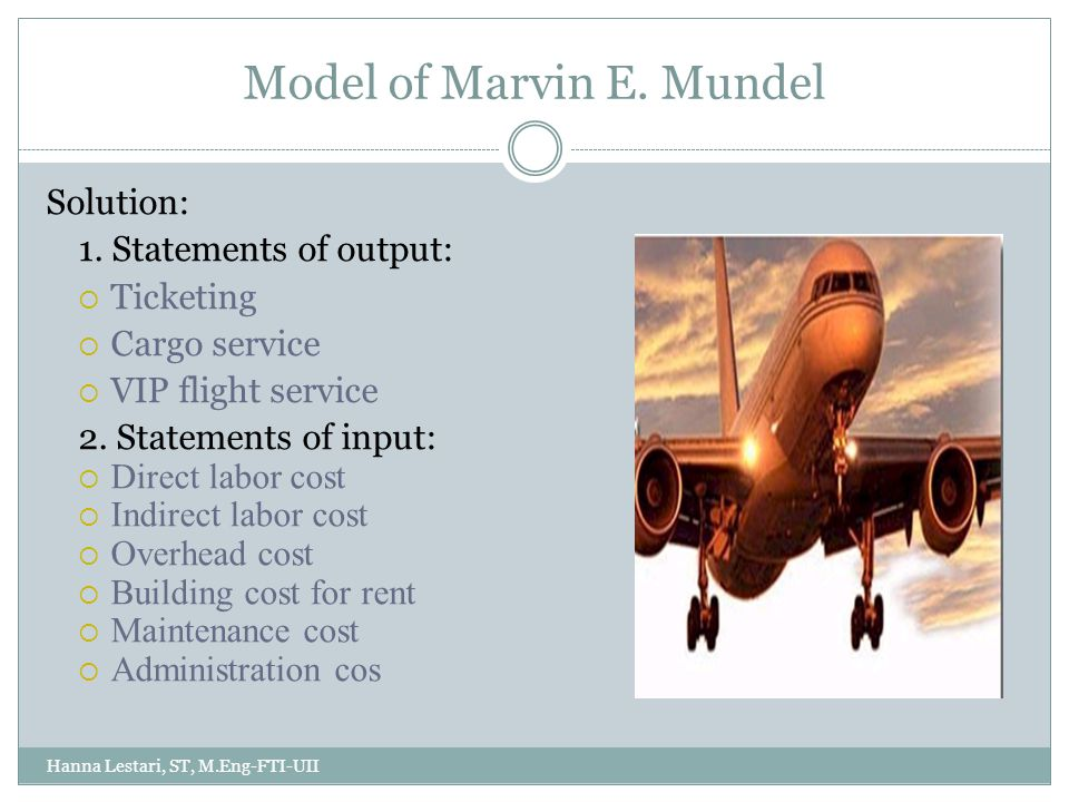Model of Marvin E. Mundel Hanna Lestari, ST, M.Eng-FTI-UII Solution: 1.