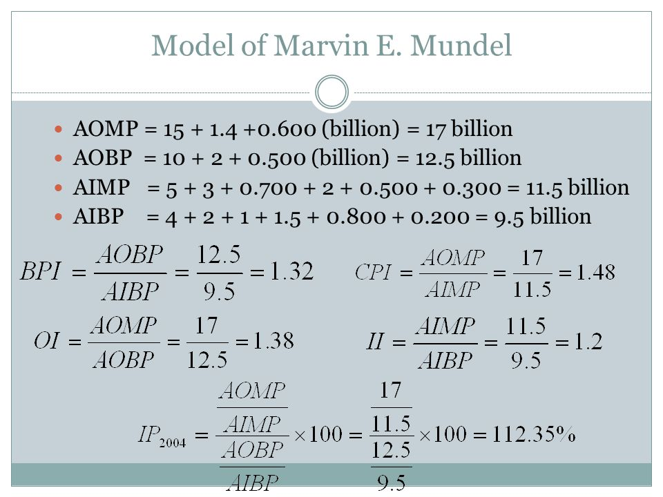 AOMP = 15 + 1.4 +0.600 (billion) = 17 billion AOBP = 10 + 2 + 0.500 (billion) = 12.5 billion AIMP = 5 + 3 + 0.700 + 2 + 0.500 + 0.300 = 11.5 billion AIBP = 4 + 2 + 1 + 1.5 + 0.800 + 0.200 = 9.5 billion Model of Marvin E.