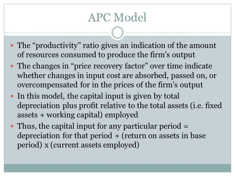 The productivity ratio gives an indication of the amount of resources consumed to produce the firm's output The changes in price recovery factor over time indicate whether changes in input cost are absorbed, passed on, or overcompensated for in the prices of the firm's output In this model, the capital input is given by total depreciation plus profit relative to the total assets (i.e.