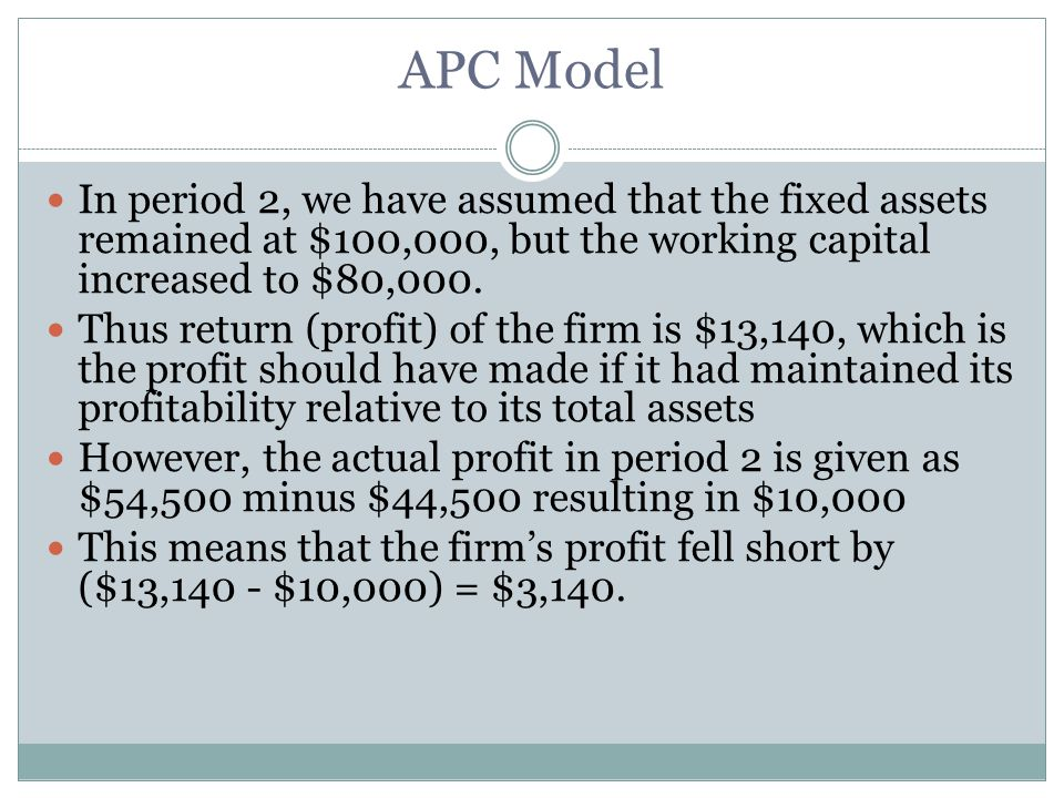 In period 2, we have assumed that the fixed assets remained at $100,000, but the working capital increased to $80,000.