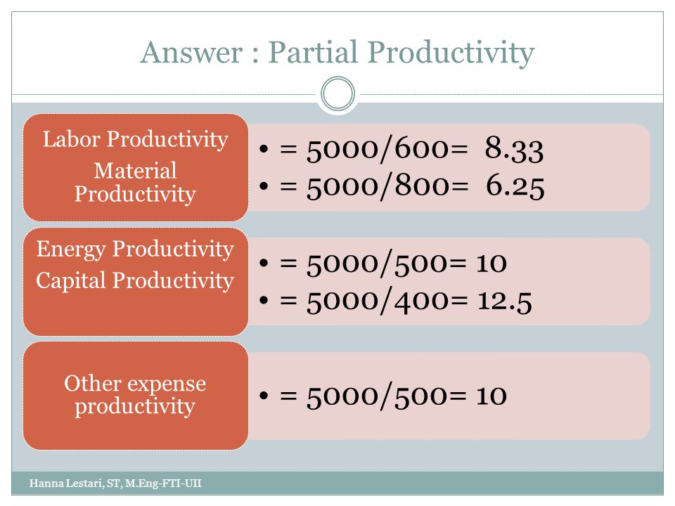 Answer: Total Productivity Total Productivity : = Total Output/ (labor + material + capital + energy + other expense input) = 5000 / (600+800+400+500+500) = 5000/2800 = 1.785 Hanna Lestari, ST, M.Eng-FTI-UII