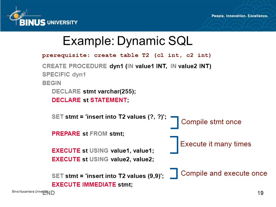 Bina Nusantara University 19 CREATE PROCEDURE dyn1 (IN value1 INT, IN value2 INT) SPECIFIC dyn1 BEGIN DECLARE stmt varchar(255); DECLARE st STATEMENT; SET stmt = insert into T2 values ( , ) ; PREPARE st FROM stmt; EXECUTE st USING value1, value1; EXECUTE st USING value2, value2; SET stmt = insert into T2 values (9,9) ; EXECUTE IMMEDIATE stmt; END Compile stmt once Execute it many times Compile and execute once prerequisite: create table T2 (c1 int, c2 int) Example: Dynamic SQL