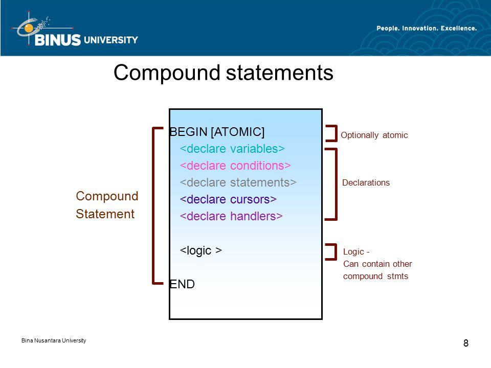 Bina Nusantara University 8 BEGIN [ATOMIC] END Declarations Logic - Can contain other compound stmts Compound Statement Optionally atomic Compound statements