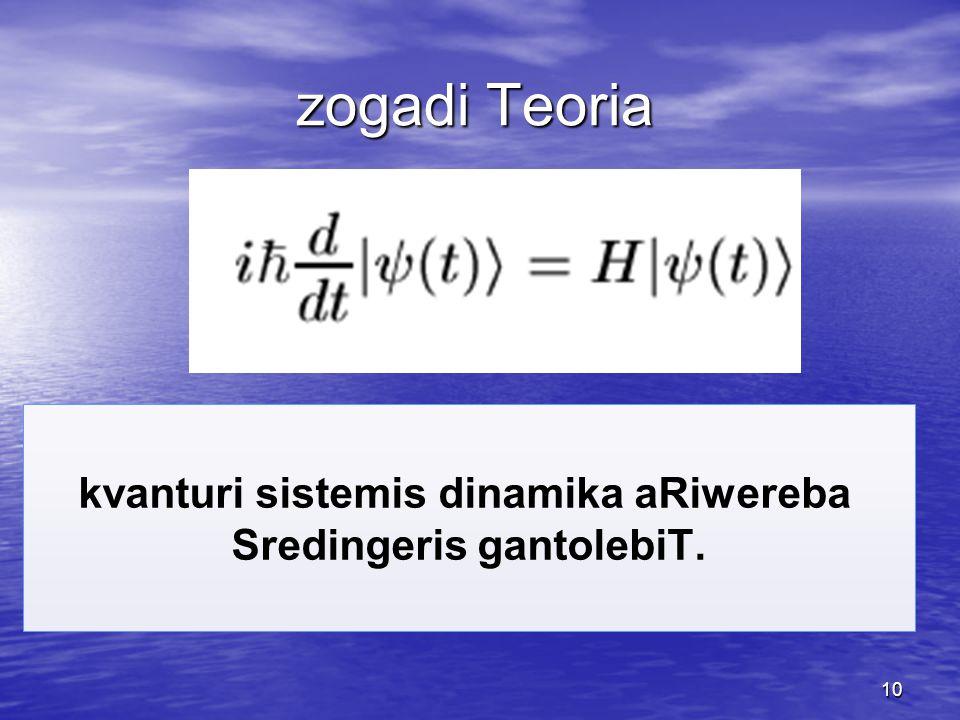 10 kvanturi sistemis dinamika aRiwereba Sredingeris gantolebiT. zogadi Teoria zogadi Teoria