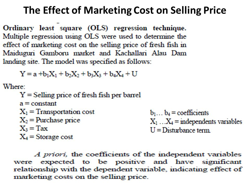 The Effect of Marketing Cost on Selling Price