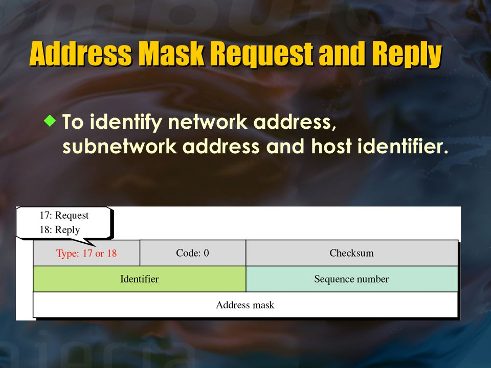 Address Mask Request and Reply  To identify network address, subnetwork address and host identifier.