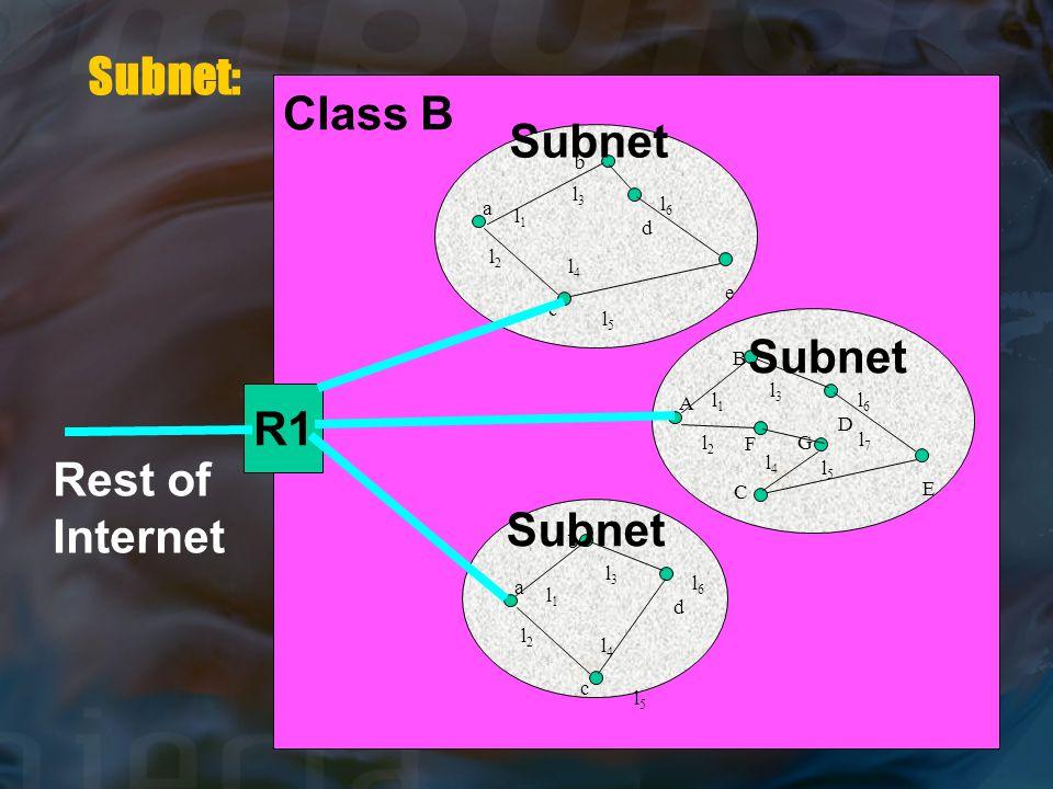 l1l1 l2l2 l3l3 l4l4 l5l5 l6l6 A B C D E l1l1 l2l2 l3l3 l4l4 l5l5 l6l6 a b c d Subnet: l1l1 l2l2 l3l3 l4l4 l5l5 l6l6 a b c d e F G l7l7 R1 Class B Rest of Internet Subnet