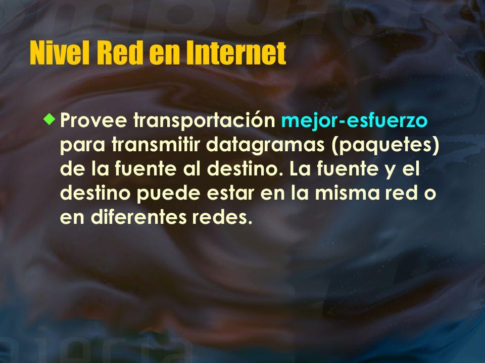 Nivel Red en Internet  Provee transportación mejor-esfuerzo para transmitir datagramas (paquetes) de la fuente al destino.