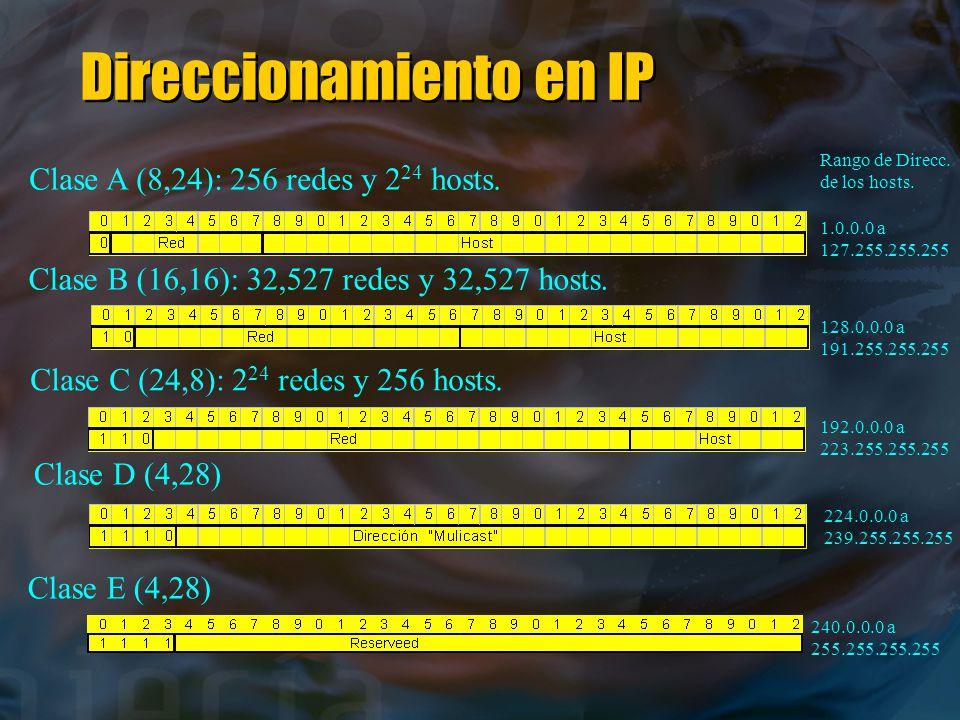 Direccionamiento en IP Clase A (8,24): 256 redes y 2 24 hosts.
