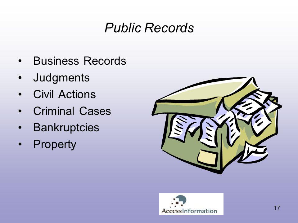 17 Public Records Business Records Judgments Civil Actions Criminal Cases Bankruptcies Property
