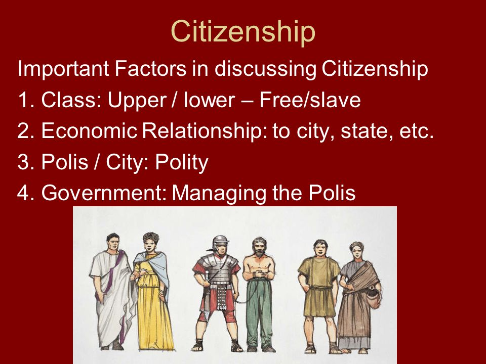 Citizenship Important Factors in discussing Citizenship 1. Class: Upper / lower – Free/slave 2. Economic Relationship: to city, state, etc. 3. Polis /