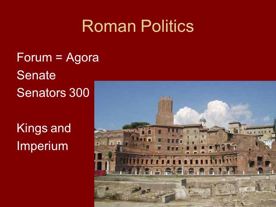 Roman Politics Forum = Agora Senate Senators 300 Kings and Imperium