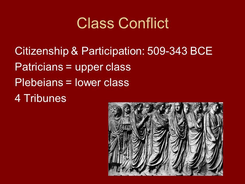 Class Conflict Citizenship & Participation: 509-343 BCE Patricians = upper class Plebeians = lower class 4 Tribunes