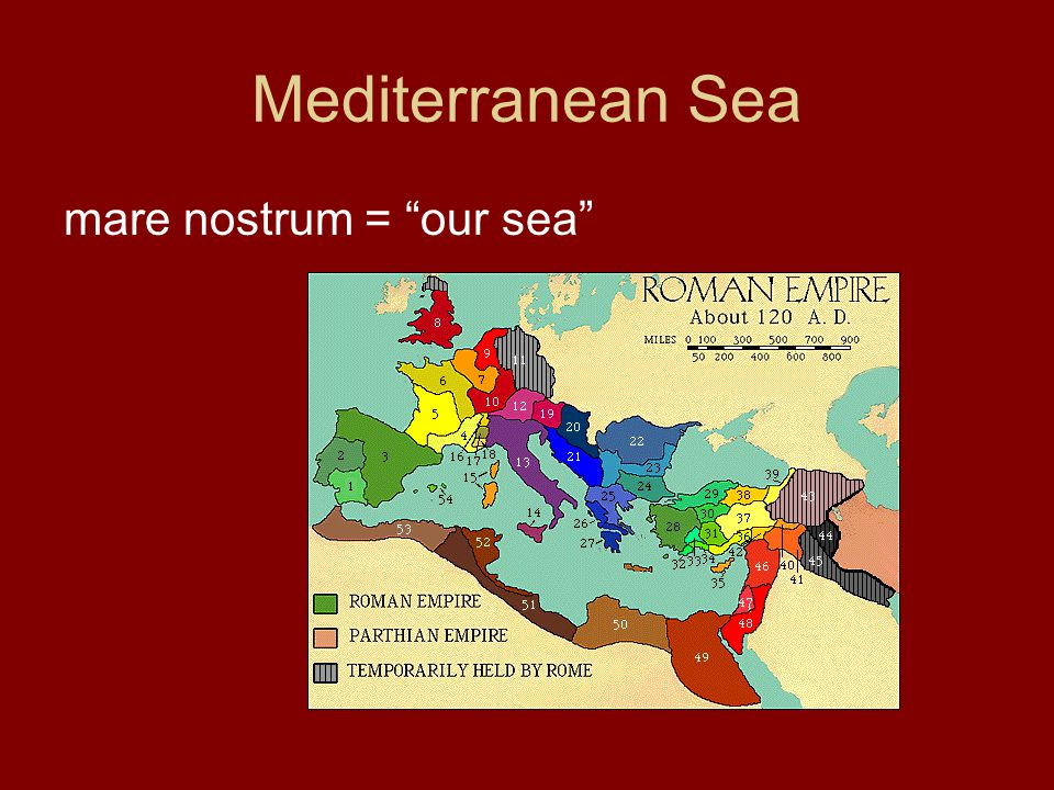 "Mediterranean Sea mare nostrum = ""our sea"""