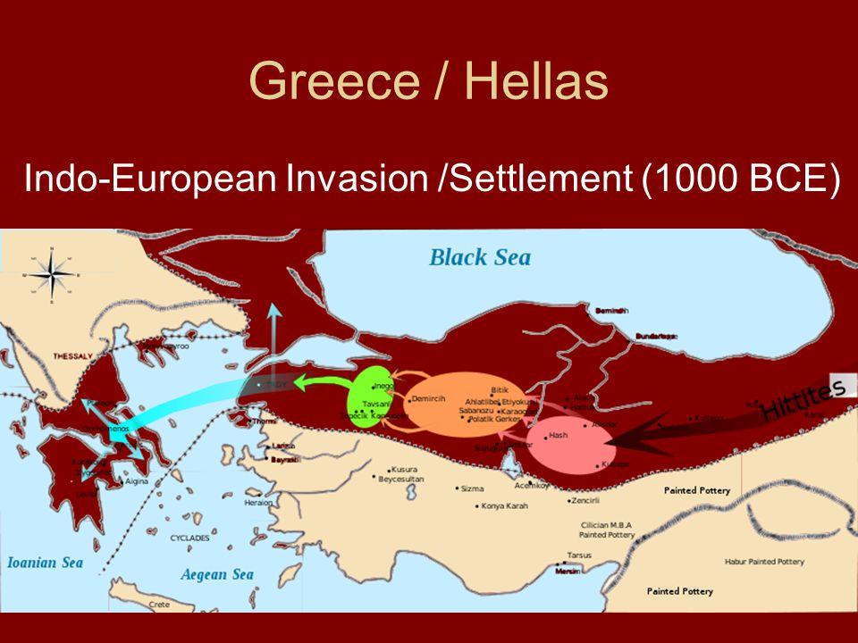 Invasion of the Hellas / Greece Indo-European Greek speaking people Second millennium BCE (Knossos / Crete destroyed 1450 BCE)