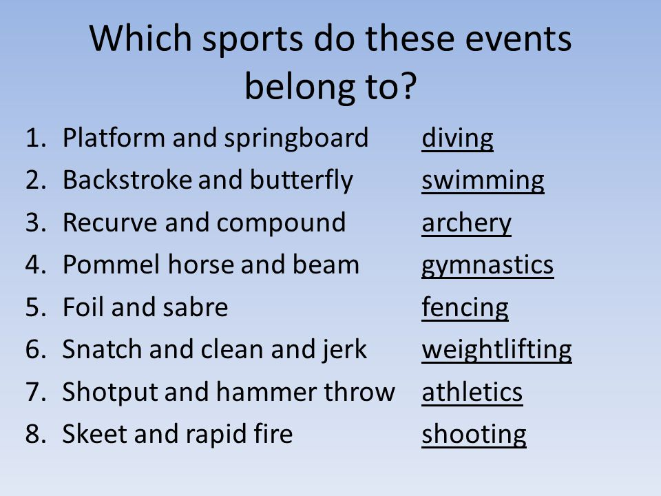 Which sports do these events belong to.