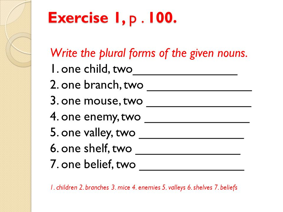 Exercise 1, p.100. Write the plural forms of the given nouns.
