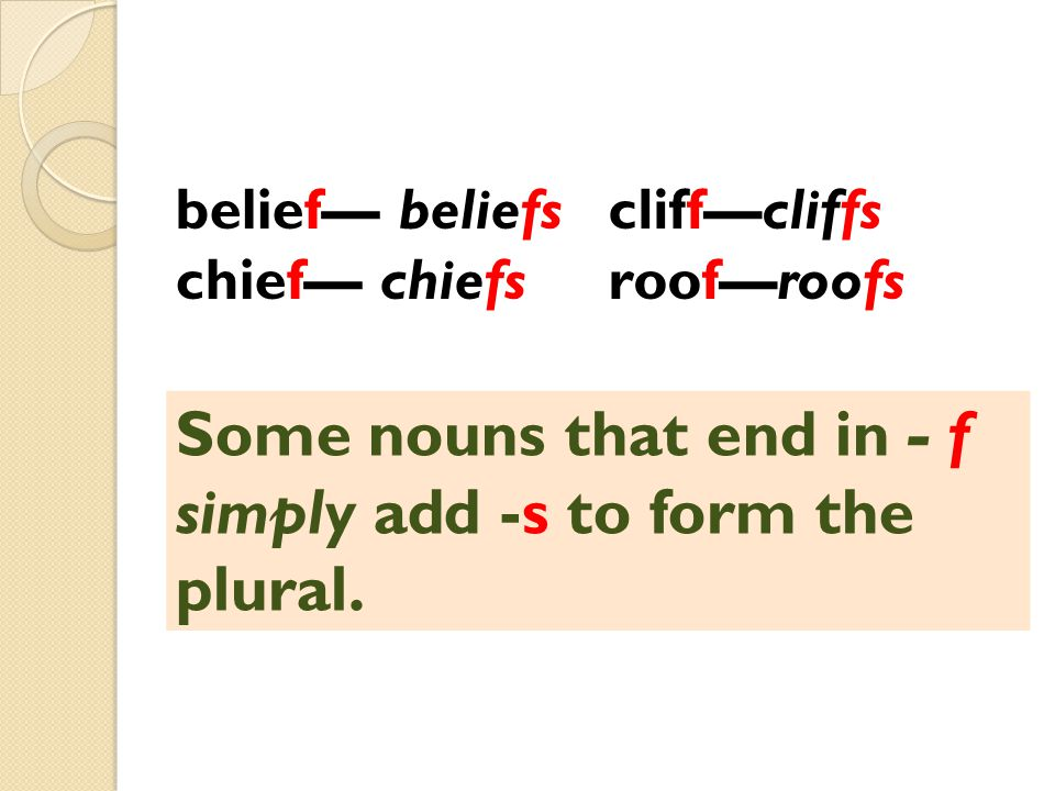 cliff—cliffs roof—roofs belief— beliefs chief— chiefs Some nouns that end in - f simply add -s to form the plural.