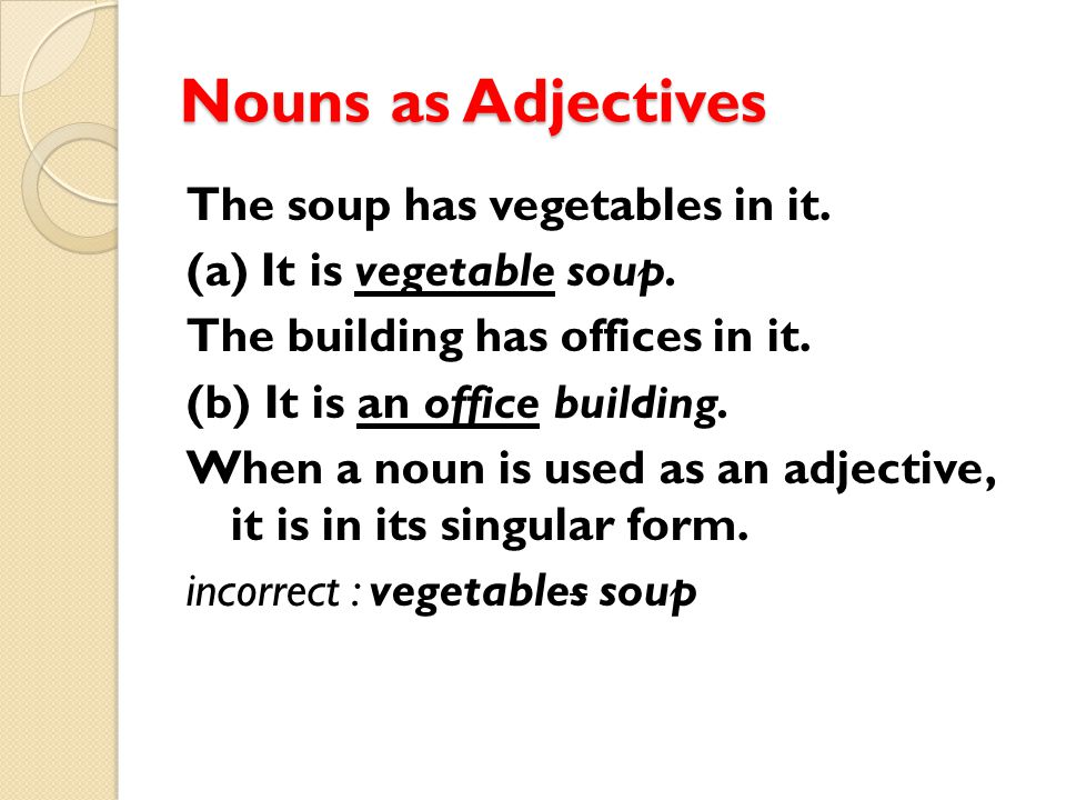 Nouns as Adjectives The soup has vegetables in it. (a) It is vegetable soup. The building has offices in it. (b) It is an office building. When a noun