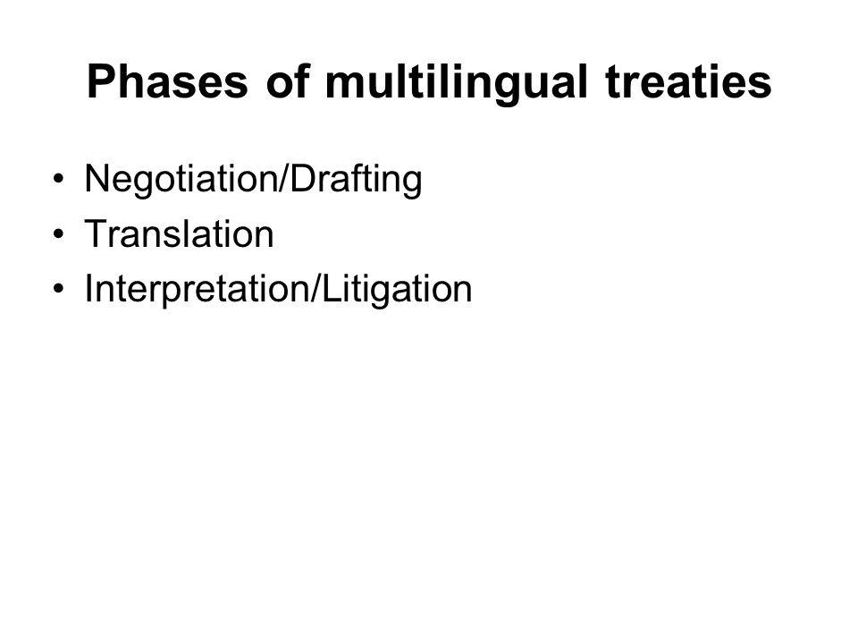 Phases of multilingual treaties Negotiation/Drafting Translation Interpretation/Litigation
