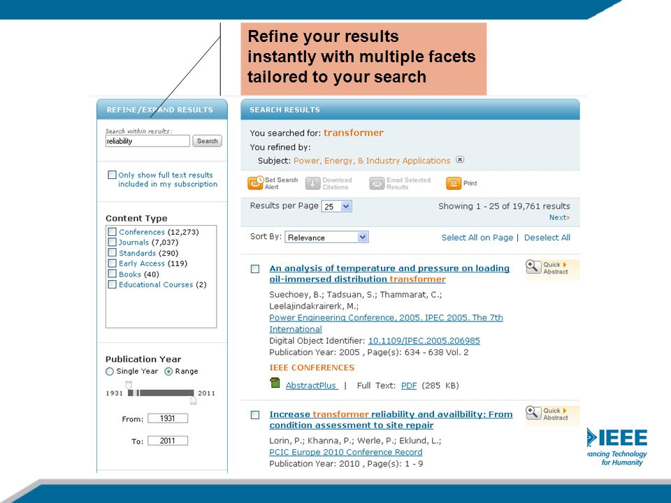 Refine your results instantly with multiple facets tailored to your search