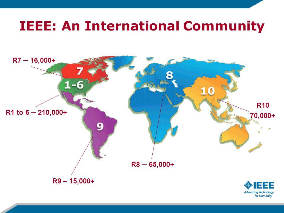 R9 – 15,000+ R8 – 65,000+ R10 70,000+ R1 to 6 – 210,000+ R7 – 16,000+ IEEE: An International Community