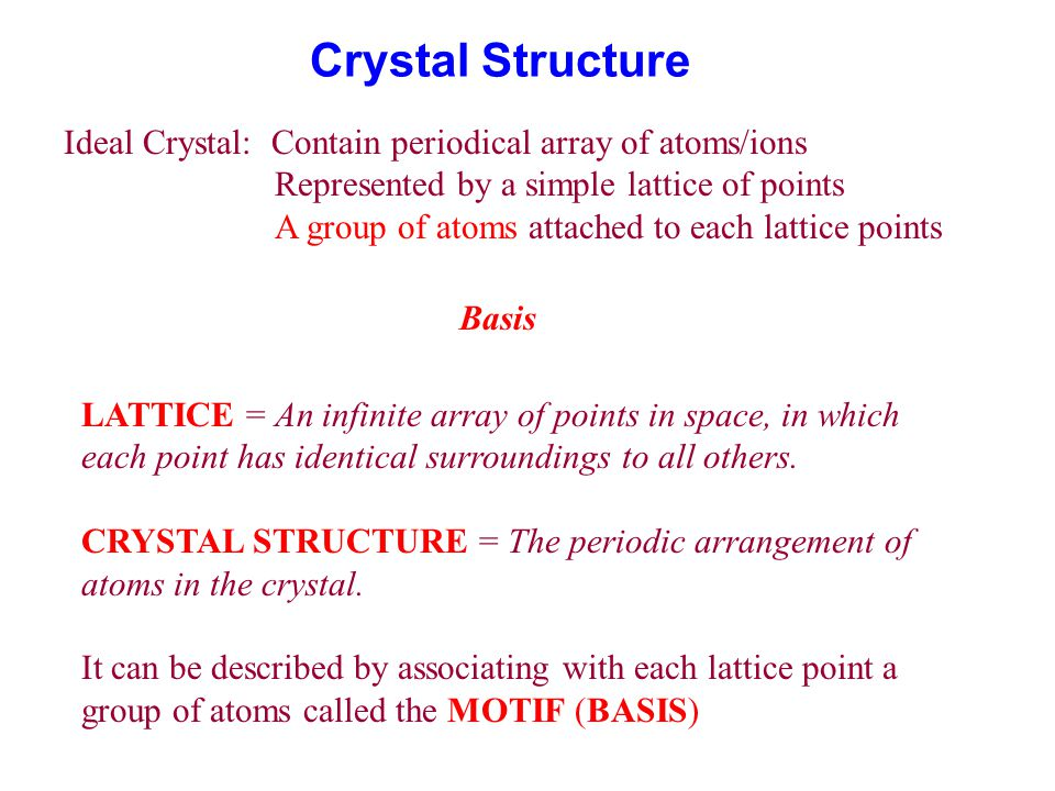 Crystal Structure Ideal Crystal: Contain periodical array of atoms/ions Represented by a simple lattice of points A group of atoms attached to each lattice points Basis LATTICE = An infinite array of points in space, in which each point has identical surroundings to all others.