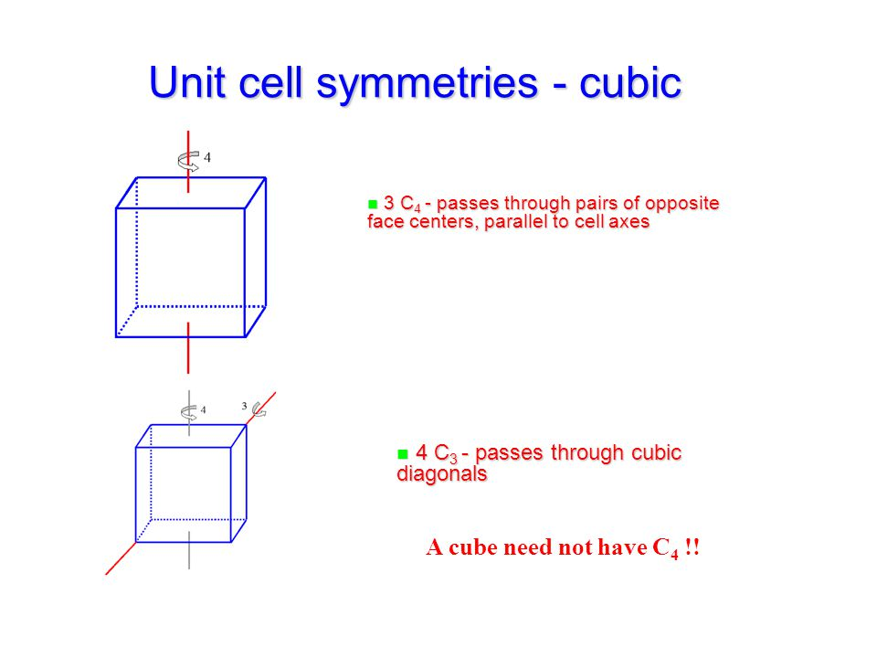 Unit cell symmetries - cubic n 3 C 4 - passes through pairs of opposite face centers, parallel to cell axes n 4 C 3 - passes through cubic diagonals A cube need not have C 4 !!