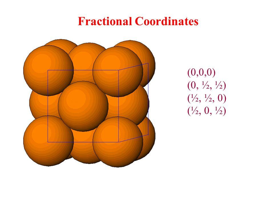 (0,0,0) (0, ½, ½) (½, ½, 0) (½, 0, ½) Fractional Coordinates